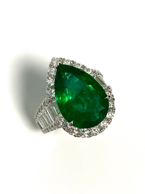 Emerald Pear Ring 5.91 cts