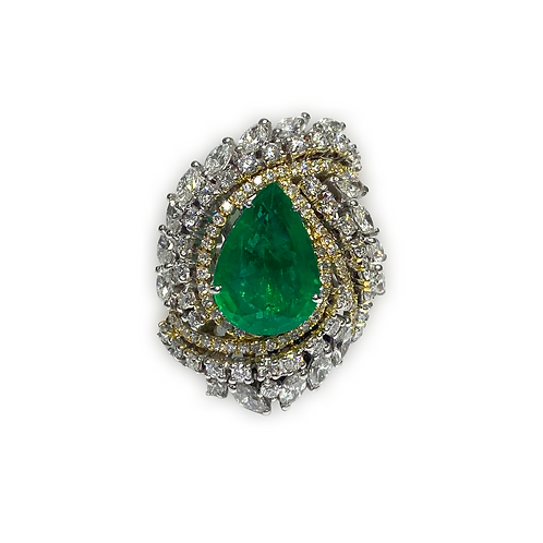 Emerald Pear Ring 6.80 Cts