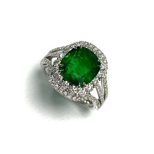Emerald Cushion Ring 3.50 cts