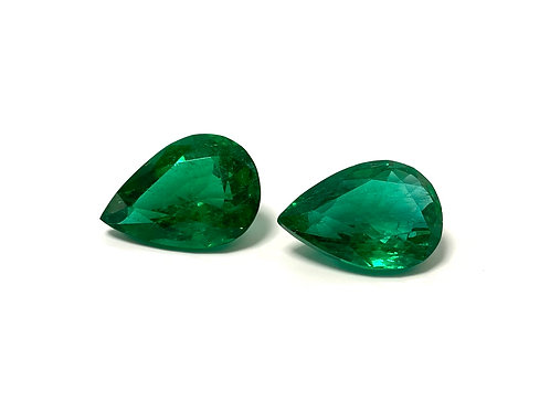 Emerald Pear Pair 13.82 cts