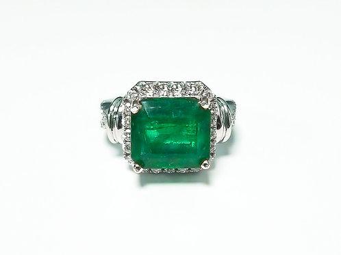 Emerald Emeraldcut Ring 6.44 cts