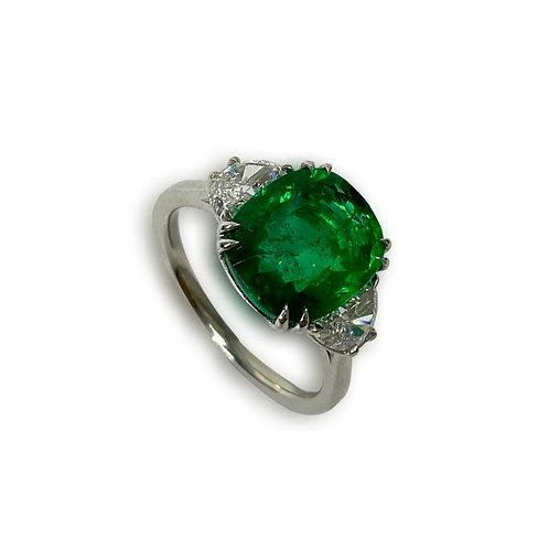 Emerald Cushion Ring 4.52 Cts