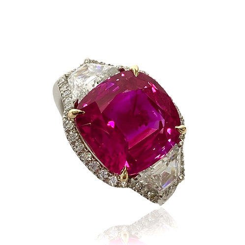Burma Ruby No Heat Cushion Ring 7.16 Cts