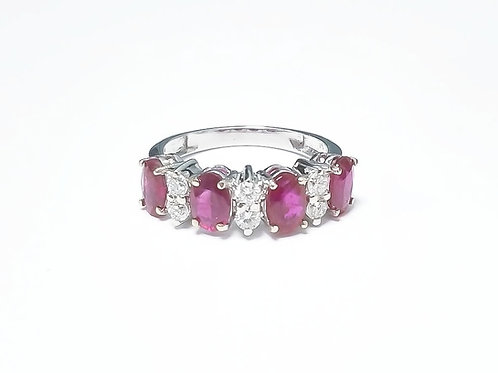 Ruby Oval 4pcs Set Ring 2.01 cts