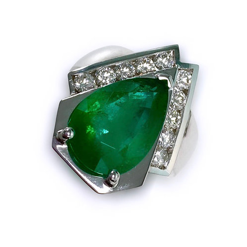 Emerald Pear Ring 5.35 cts