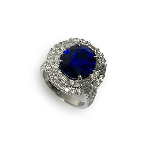 Ceylon Sapphire Oval Ring 4.47 cts