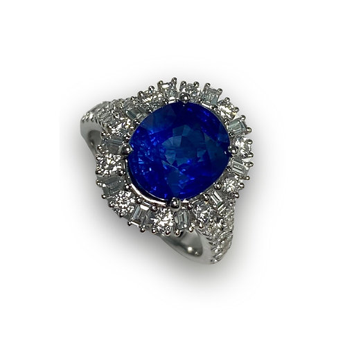 Ceylon Sapphire Oval Ring 4.17 cts