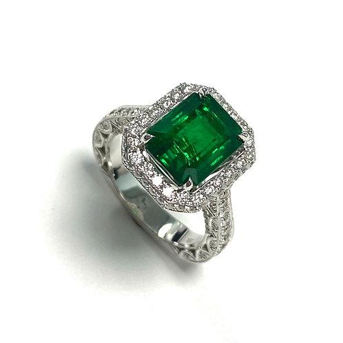 Emerald Emeraldcut Ring 3.98cts