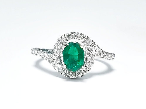 Emerald Oval Ring 0.71 cts