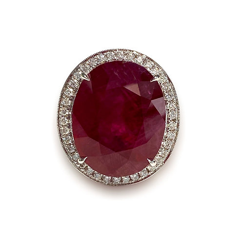 Mozambique Ruby Oval Ring 25.51 Cts
