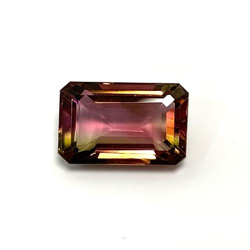 Bicolor Tourmaline Emeraldcut 5.25 cts