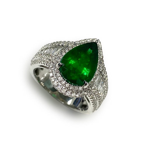 Emerald Pear Ring 3.25 cts