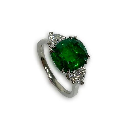 Emerald Cushion Ring 4.03 Cts