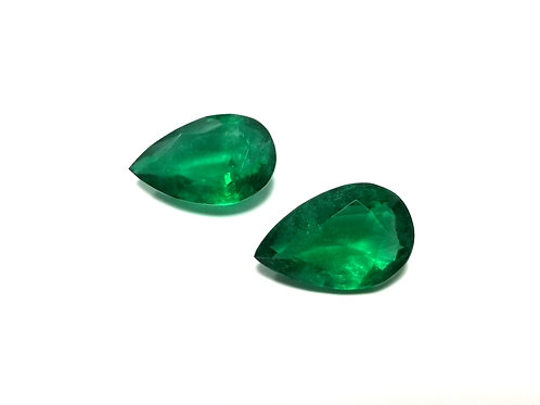 Emerald Pear Pair 14.01 cts
