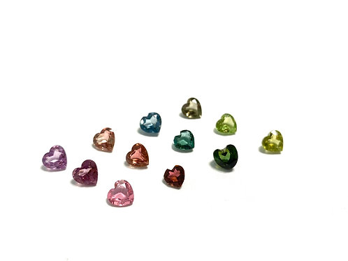 Multicolor Tourmaline Hearts 23 pcs 17.54 CT's