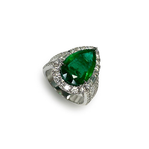 Emerald Pear Ring 4.34 cts