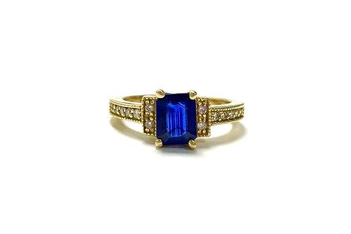 Ceylon Sapphire Emeraldcut Ring 1.10 cts