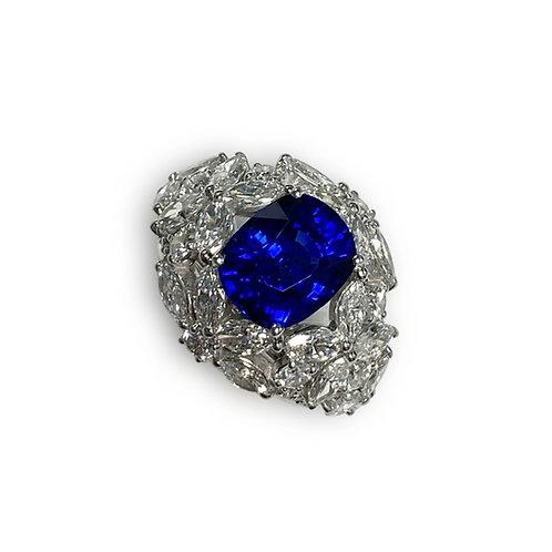 Ceylon Sapphire Cushion Ring 6.06 cts