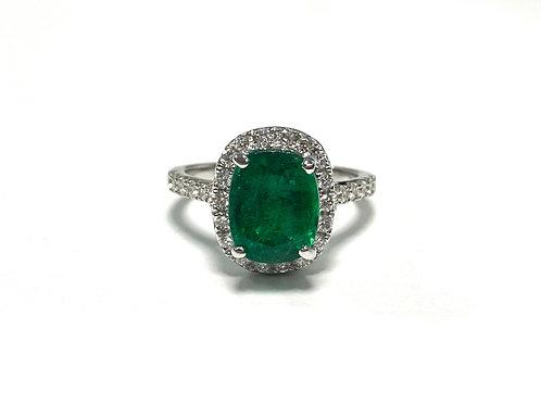 Emerald Cushion Ring 2.91 cts