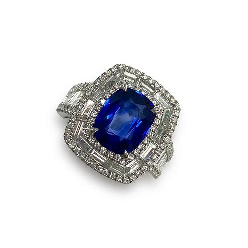 Ceylon Sapphire Cushion Ring 2.88 cts
