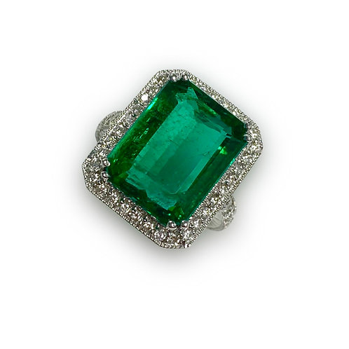 Emerald Emeraldcut Ring 12.62 cts