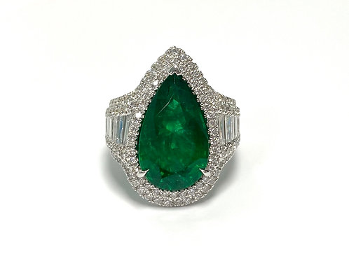 Emerald Pear Ring 7.06 cts