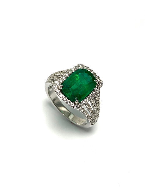 Emerald Cushion Ring 3.10 cts
