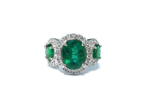 Emerald Oval 3pcs Set Ring
