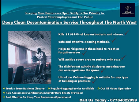 Coronavirus Deep Clean Decontamination Service Throughout The North West.....