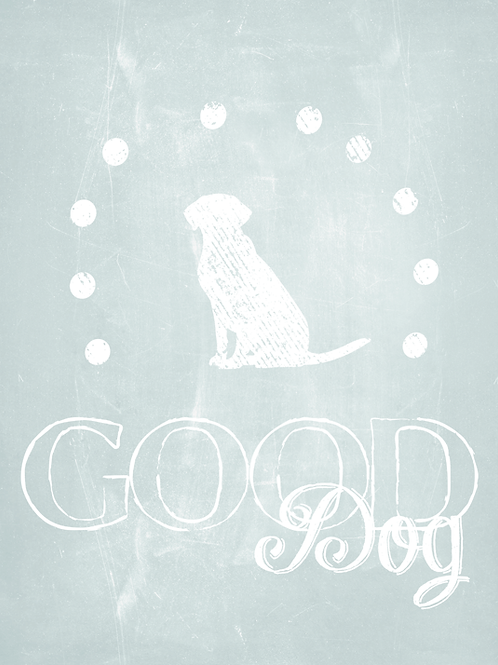 """Good Dog"" Gossamer Blue Giclee Canvas Wrap"