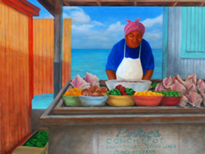 """""""Pinkies Conch Stand"""" SOLD"""