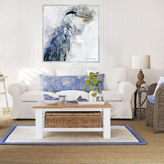 Heron Coastal Room White Wood Frame 1