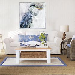 Heron Coastal Room White Wood Frame 1