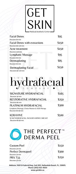 getskin price list facials hydrafacial perfect derma peel