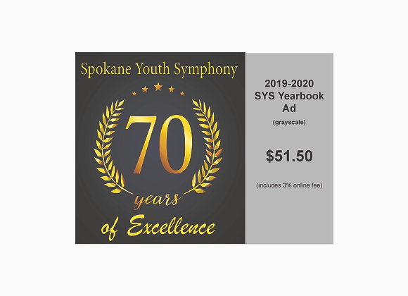"""SYS 2019-2020 Yearbook Business Ad - 3"""" wide x 1 5/8"""" tall (grayscale)"""