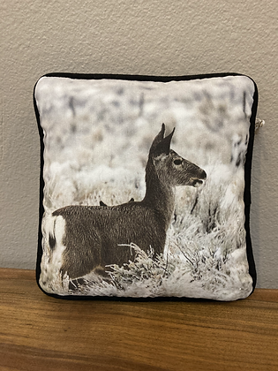 Pillow: Round Valley Deer + Frozen Brush