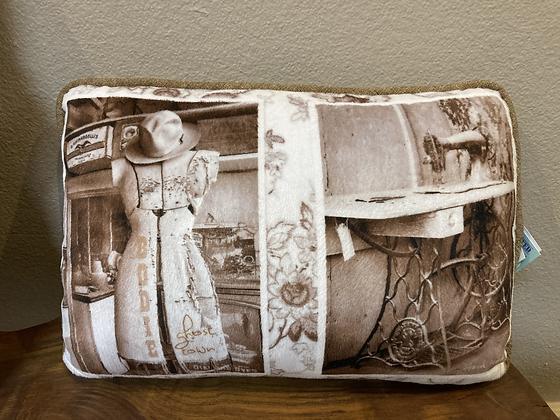 Pillow: Vintage Dress Form + Treadle Collage