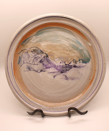 Ceramic Plate: Mountains with Orange Border, Large