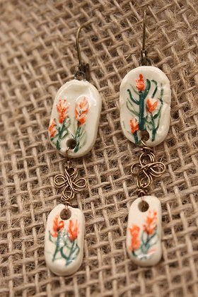 Porcelain Wire Wrapped Earrings: Indian Paintbrush