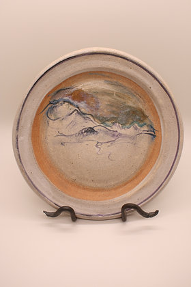Ceramic Plate: Mountains with Orange Border, Medium