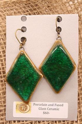 Porcelain + Fused Glass Ceramic Earrings: Emerald Beauties