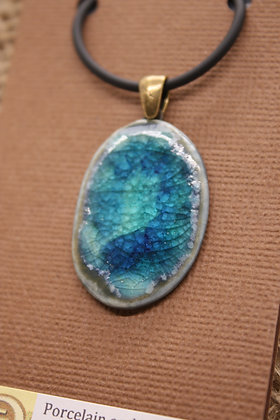 Porcelain + Fused Glass Ceramic Necklace: Ocean Blues