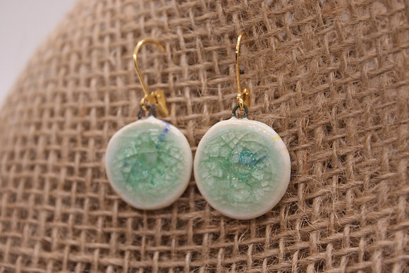 Porcelain + Fused Glass Ceramic Earrings: Teal + White Round Drops