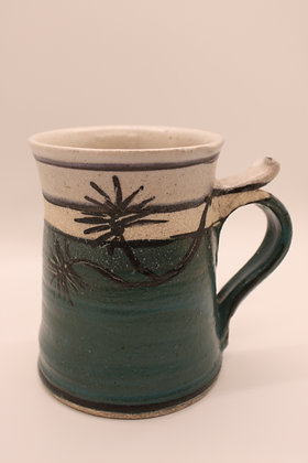 Ceramic Mug: Large, Green with Branches