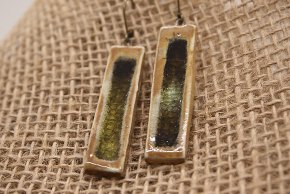 Porcelain + Fused Glass Ceramic Earrings: Deep Green + Brown