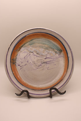 Ceramic Plate: Mountains with Deep Orange Border, Medium