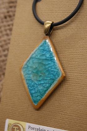 Porcelain + Fused Glass Ceramic Necklace: Turquoise + Sand