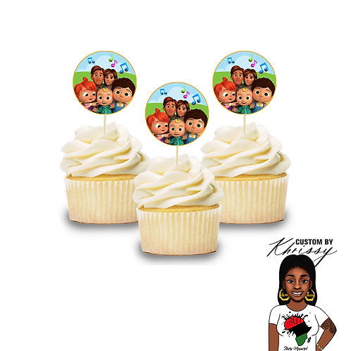 12 Cocomelon Cupcake Toppers