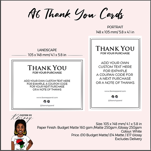 CUSTOM A6 Post Cards -THANK YOU CARDS