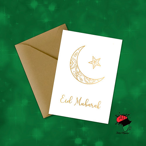 PRE ORDER : Gold Foiled Eid Mubarak | Greeting Card